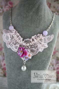 $20 flower lace statement necklace pink pearl bib charm by missvirgouk