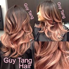 New hair color balayage brown guy tang ideas Love Hair, Great Hair, Gorgeous Hair, Cabelo Rose Gold, Rose Gold Hair, Ombre Hair, Rose Gold Ombre, Rose Gold Baylage, Rose Gold Balayage Brunettes