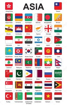 Buttons with flags of Asia — Stock Illustration All World Flags, World Country Flags, Countries Of Asia, Countries And Flags, Gernal Knowledge, General Knowledge Facts, Asian Flags, Minecraft Banner Designs, Flags With Names
