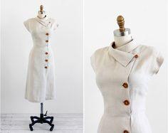 vintage 1940s dress / 40s dress / Natural Linen by RococoVintage