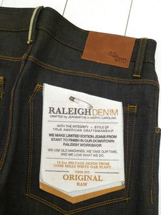 Raleigh Denim crafted by jeansmith's in NC #OHairenQualityApproved