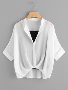 Cheap blouse fashion, Buy Quality fashion blouses directly from China chiffon shirt Suppliers: ROMWE Beige Chiffon Shirt Batwing Sleeve Brief Blouse With Cami Tops Women Fall 2017 Fashion Draped Elegant High Low Lapel Shirt Girls Fashion Clothes, Teen Fashion Outfits, Look Fashion, Korean Fashion, Fashion Sale, Crop Top Outfits, Cute Casual Outfits, Pretty Outfits, Stylish Outfits