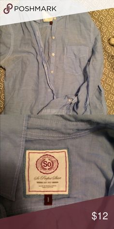 SO brand blue button down SO brand blue button down.  Very light weight almost shear.  100% cotton.  Size large SO Tops Button Down Shirts