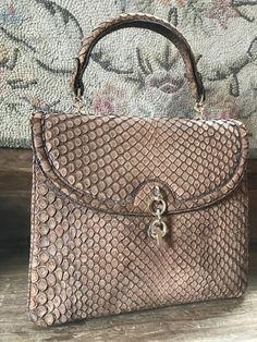 Vintage LOEWE 1846 bruin slangenhuid leer & suède portemonnee