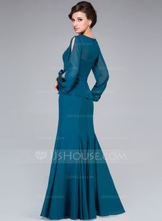 Trumpet/Mermaid Scoop Neck Floor-Length Chiffon Charmeuse Mother of the Bride Dress With Flower(s) (008042313)