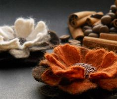 felted flower brooches