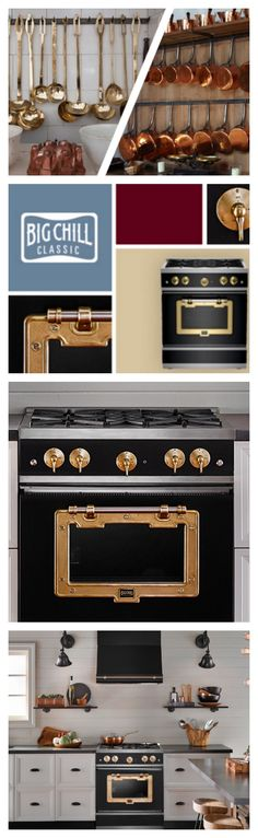 'Metal Trim Makes Kitchens Memorable' Explore the Big Chill Classic Line to configure the perfect combination of brass, copper and color for your kitchen. #BigChill #Retro