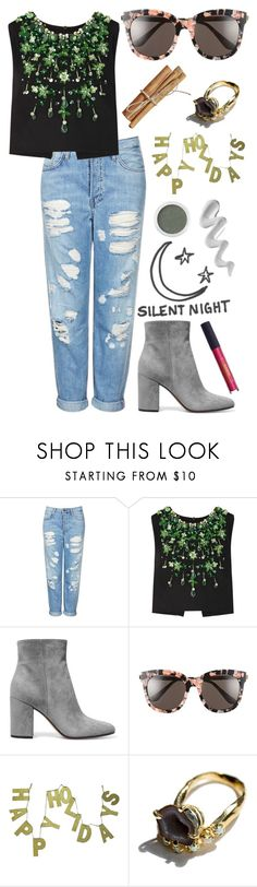 """""""Casual So-Cal Christmas"""" by morganamerica ❤ liked on Polyvore featuring Topshop, Miu Miu, Gianvito Rossi, Gentle Monster, Silent Night, Lipstick Queen, Bare Escentuals, Unearthen and Melissa"""