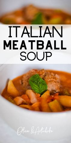Italian Meatball Soup - how to make this warming and comforting soup. This savory soup is packed full of Italian flavors and is ready in about 30 minutes! Italian Soup Recipes, Meat Recipes, Whole Food Recipes, Chili Recipes, Italian Meatball Soup, Dinner Dishes, Main Dishes, Vegetarian Soup, Chowder Recipes