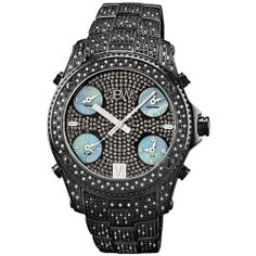 """JBW Men's JB-6213-B """"Jet Setter"""" Black Ion Five Time Zone Diamond Watch JBW. $495.00. Water-resistant to 165 feet (50 M). Highest standard five time zones Swiss movement. Diamond accented stationary bezel: 234 round-cut white diamonds with 3.0 CTW. Durable black ion all stainless steel case and deployment clasp. Decorative crystal accented dial with 4 white mother of pearl sub dials. Save 94%!"""