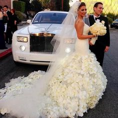 flowers wedding dress