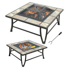leisurelife 33 Square Slate look Ceramic Tile Fire pit with grill, Brown