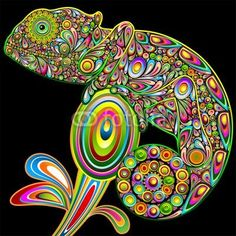 ☆SOLD!☆ #Chameleon #Psychedelic #Art #Design-#Vector   http://it.fotolia.com/id/46479066#