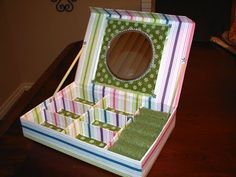 How to make from Recycled cardboard boxes a JEWERLY BOX WITH MIRROR | Recycled, Paper & Cardboard crafts