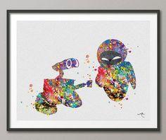 Wall-E and Eve Love Movie Watercolor Art Print Wall door CocoMilla