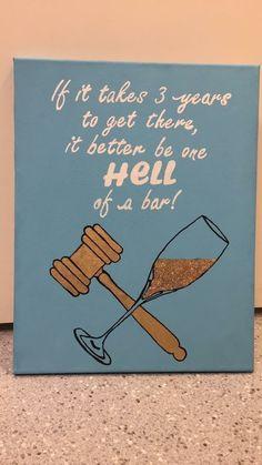 lawyer law school canvas gold glitter wine hell of a bar