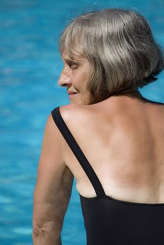 Profile of a beautiful older woman at a swimming pool | Flickr - Photo Sharing!