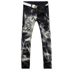 25.96$  Watch now - http://dijs5.justgood.pw/go.php?t=176190107 - Casual Wolf Printing Zip Fly Straight Legs Denim Pants For Men 25.96$
