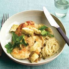Chicken With Artichokes and Angel Hair: This light and well-balanced recipe for chicken with artichokes and angel hair makes an impressive dinner without requiring much effort or time.