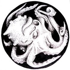 Day 43 1-20-16 Octopus in a bubble art.  This original design is created utilizing black and white pointillism.