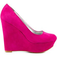 Veda Soul Women's Genevieve - Fuchsia Suede ($30) ❤ liked on Polyvore featuring shoes, pumps, heels, wedges, saltos, pink, platform pumps, platform wedge shoes, heel pump and pink platform pumps