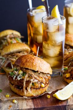 Sweet Tea Oven-Fried Chicken Sliders w- Jalapeño Cheddar Corn Slaw + Crispy Onions.