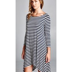 NEW Black & White Striped Dress Tunic Large Black and white striped swing dress. Falls higher in the front and longer in the back. 3/4 sleeves. New without tags. Rayon/spandex. Size large. Small and medium available in separate listings. Dresses High Low