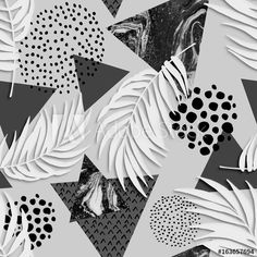 Abstract grunge triangle and exotic paper leaves seamless pattern.
