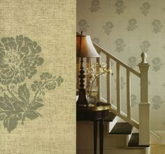 Floral Stamp Linen Wallpaper by Brewster. Find this pattern at AmericanBlinds.com.