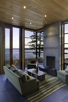 Prentiss #Architects designed the North Bay residence in Washington State. Stunning view and spectacular interiors