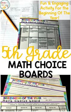 Teachers can use these 5th grade math choice boards at the beginning of the year to review all common cores from 4th grade.  Can be used to benchmark students, but also to learn their interests. This math activity is a great differentiation tool for students.  #mathmenus #teachingmath #math