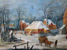 Joes Momper, dorpsstraat in de sneeuw, ca. 1600