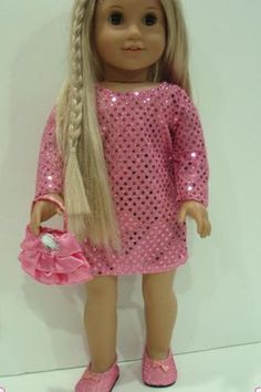 """SEQUIN TUNIC DRESS+PURSE - 18"""" Girl Doll Clothes - An American Boutique"""