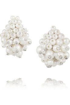 Fred Leighton 1960s 18-karat white gold, platinum, diamond and pearl clip earrings | NET-A-PORTER