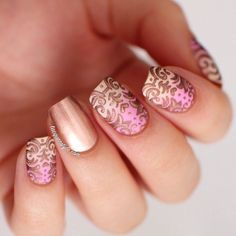 "Hey my stunning girls! I have some nail art right now for you, hooray! I ready a new post which is named ""Baroque Manicure – Elegant Nails For The Holidays Fancy Nails, Love Nails, Pretty Nails, Nagellack Design, Nagellack Trends, Frensh Nails, Hair And Nails, Pink Nails, Gradient Nails"