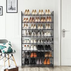 Rebrilliant The 32 Pair Stackable Shoe Rack is made to last, ensuring your shoes stay where they should be. The adjustable feet on the legs make sure that everything stays flat even on the uneven surfaces. Shoe Storage Accessories, Shoe Cubby, Shoe Storage Cabinet, Bench With Shoe Storage, Storage Shelves, Garage Shoe Storage, Ikea Shoe Storage, 8 Tier Shoe Rack, Diy Shoe Rack