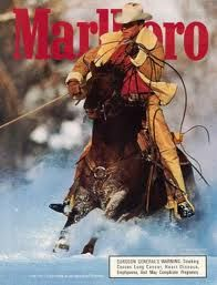 1992 Marlboro Man Cigarettes Ad Cowboy Roping in Snow Large Format