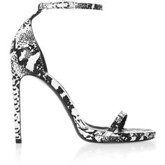 Saint Laurent Jane lizard-effect leather sandals (£253) ❤ liked on Polyvore featuring shoes, sandals, snake print, leather buckle sandals, black and white high heel sandals, black and white sandals, ankle strap platform sandals and leather sandals
