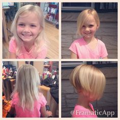 Addie's turn to lose some hair! She finally grew it out long enough to donate and was very excited to go short. It made it even better that she wasn't the one doing the cutting this time. #lacoiffuresalon #hairdonation #kidscut