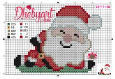 Santa Cross Stitch, Cross Stitch Charts, Cross Stitch Patterns, Embroidery Patterns, Hand Embroidery, Plastic Canvas Christmas, Plastic Canvas Patterns, Christmas Cross, Sewing Clothes