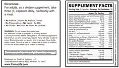 Supplement Facts: CinnaLife - Advanced Sugar Control - Diabetic Vitamin and Multivitamin for Diabetics