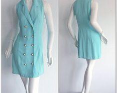 Vintage Navy Blue Rockabilly Dress / Silk Bow Sailor Dress W/ Nautical Theme / Mad Men Henri Bendel Royal Blue Full Skirt Dress African Fashion Dresses, African Dress, 1990, Vintage Couture, Coachella, Silk Dress, Rockabilly, Sailor, Grunge