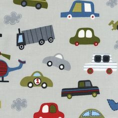 Vroom, Tossed Cars Trucks Colorway Denim Fabric - By the Yard. $8.50, via Etsy.