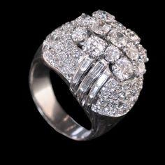 FRENCH.c1950's.Impressive diamond cluster ring