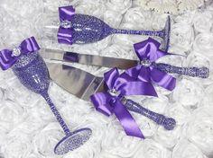 Purple Wedding  glasses & cake knife server/  Cake by DiAmoreDS