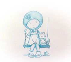 Girl on a Swing - Copics Copics, My Arts, Snoopy, Fictional Characters, Fantasy Characters