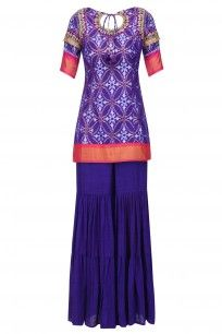 Purple Ikat Work Short Kurta and Sharara Pants Set #tishasaksena #newcollection #ethnic #shopnow #ppus #happyshopping