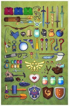 The Legend of Zelda - Lindsay Ishihiro All your helpful little tools that all fit in your pocket at once.