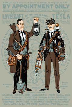 Haha. Yep, this rocks. - H.P. Lovecraft and Nikola Tesla: Paranormal Investigators - Illustration by Travis Pitts