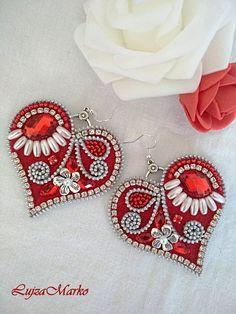Red&white zipper folk heart earrings